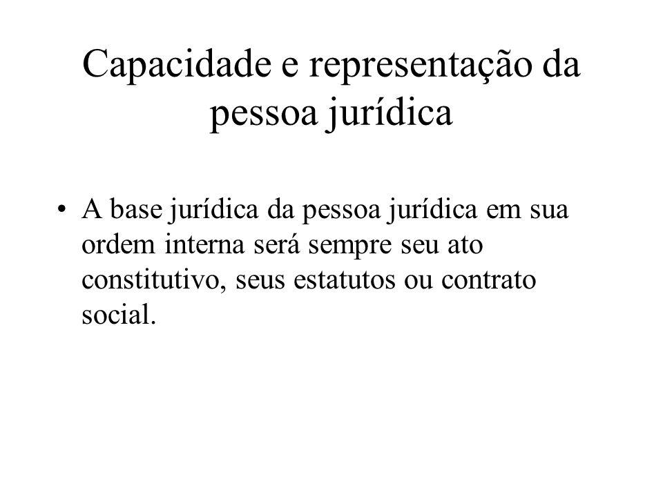 Capacidade e representação da pessoa jurídica A base jurídica da pessoa jurídica em sua ordem interna será sempre seu ato constitutivo, seus estatutos
