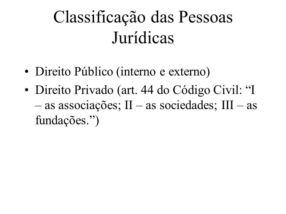 """Classificação das Pessoas Jurídicas Direito Público (interno e externo) Direito Privado (art. 44 do Código Civil: """"I – as associações; II – as socieda"""