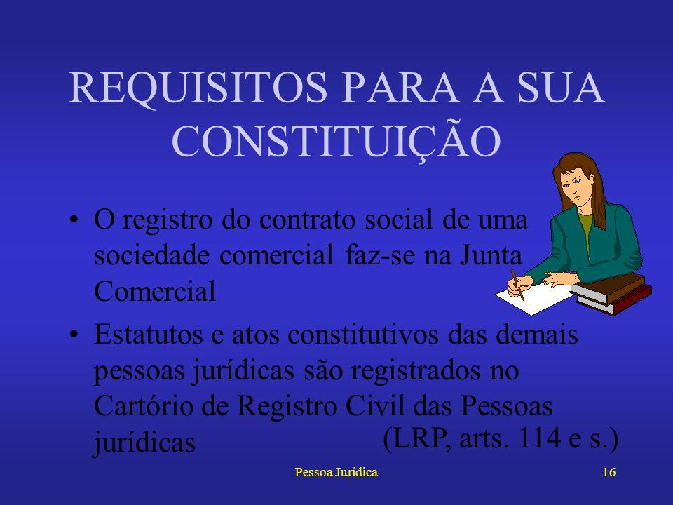 Pessoa Jurídica15 O nascituro possui personalidade garantida ao nascer com vida Ao contrário, a pessoa jurídica só adquire personalidade caso tenha se