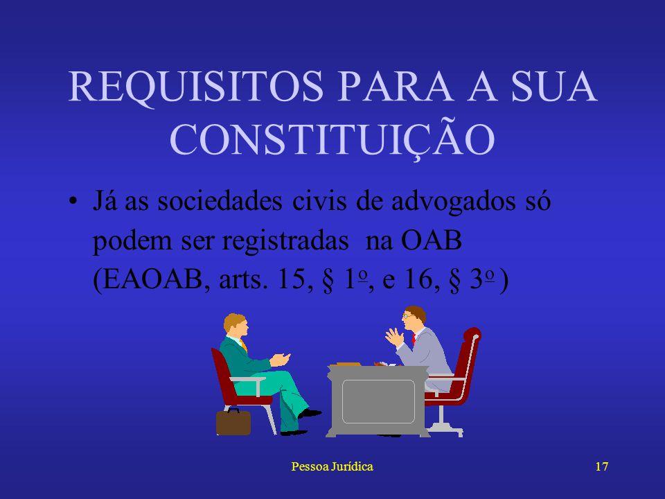 Pessoa Jurídica16 O registro do contrato social de uma sociedade comercial faz-se na Junta Comercial Estatutos e atos constitutivos das demais pessoas