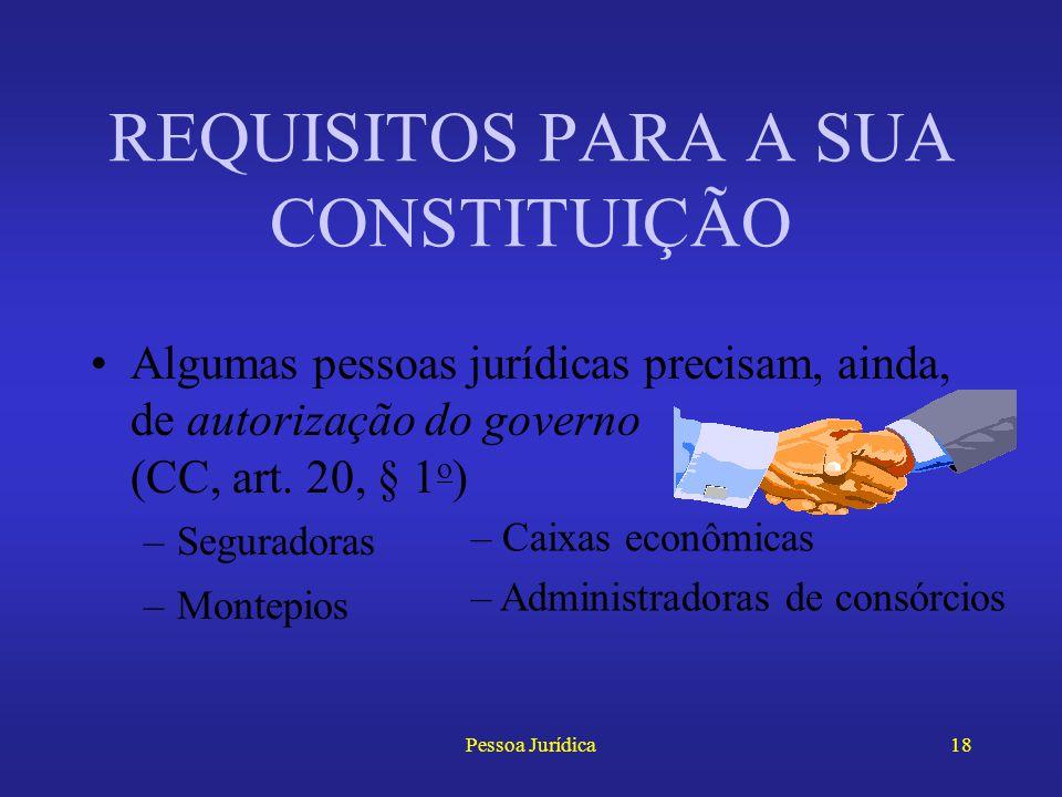 Pessoa Jurídica17 Já as sociedades civis de advogados só podem ser registradas na OAB (EAOAB, arts. 15, § 1 o, e 16, § 3 o ) REQUISITOS PARA A SUA CON