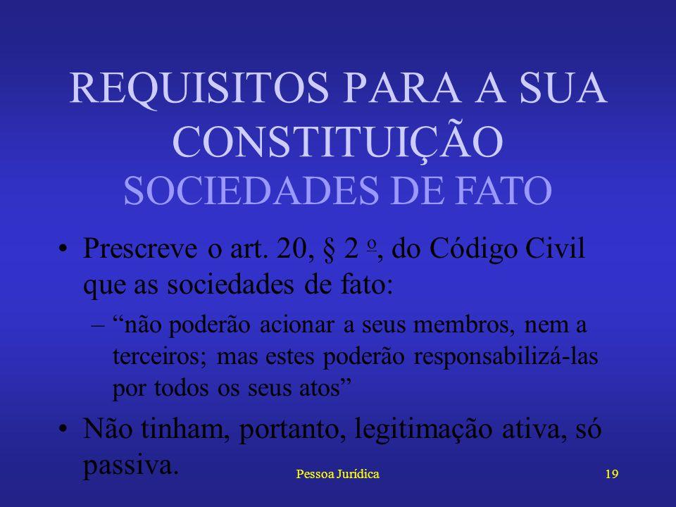 Pessoa Jurídica18 Algumas pessoas jurídicas precisam, ainda, de autorização do governo (CC, art. 20, § 1 o ) –Seguradoras –Montepios REQUISITOS PARA A