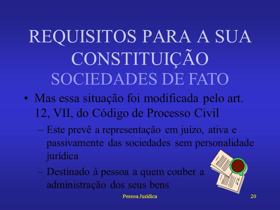 """Pessoa Jurídica19 Prescreve o art. 20, § 2 o, do Código Civil que as sociedades de fato: –""""não poderão acionar a seus membros, nem a terceiros; mas es"""