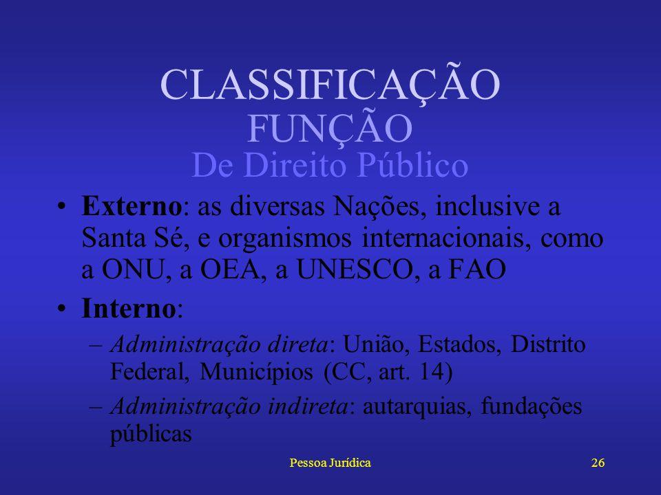 Pessoa Jurídica25 Quanto à função (ou à órbita de sua atuação), as pessoas jurídicas dividem-se em: –De Direito Público –De Direito Privado CLASSIFICA