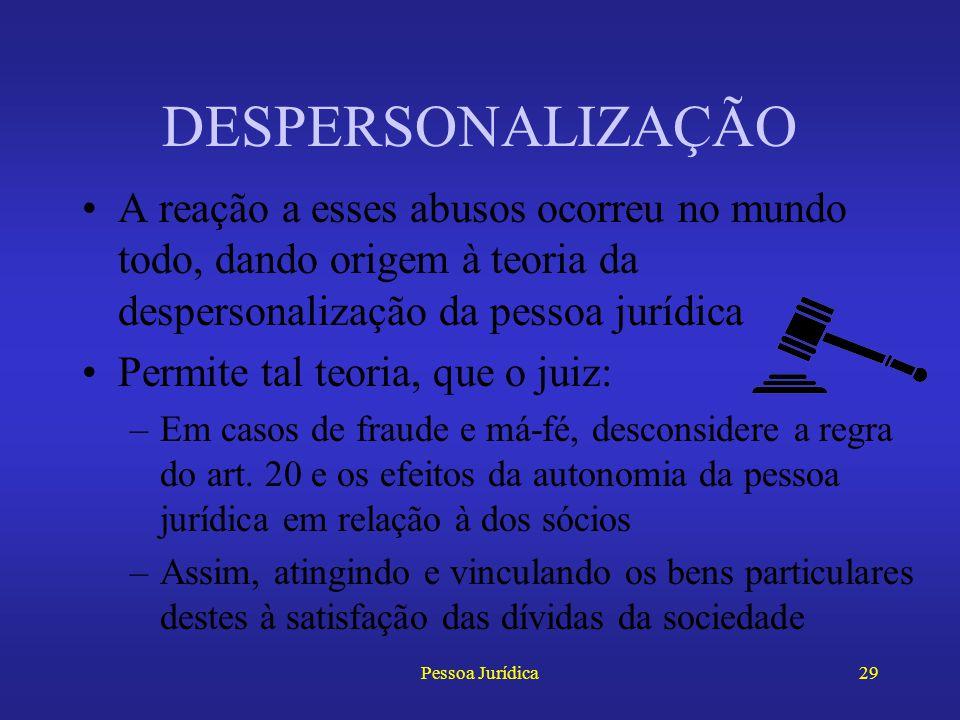 Pessoa Jurídica28 DESPERSONALIZAÇÃO Prescreve o art. 20 do Código Civil que as pessoas jurídicas têm a existência distinta da dos seus membros Essa re