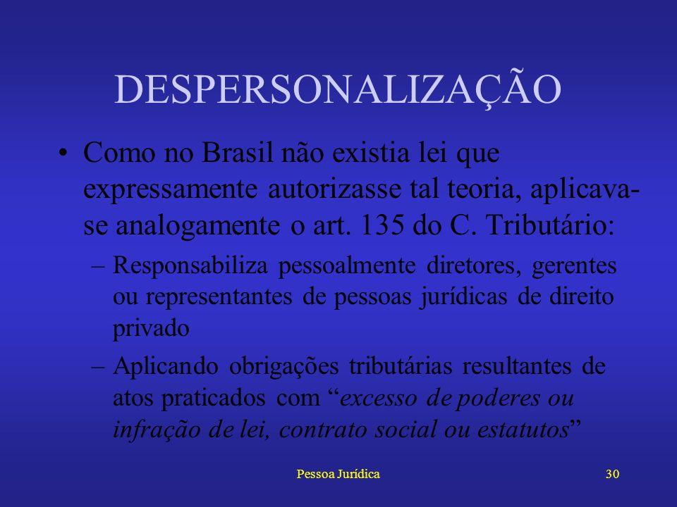 Pessoa Jurídica29 DESPERSONALIZAÇÃO A reação a esses abusos ocorreu no mundo todo, dando origem à teoria da despersonalização da pessoa jurídica Permi