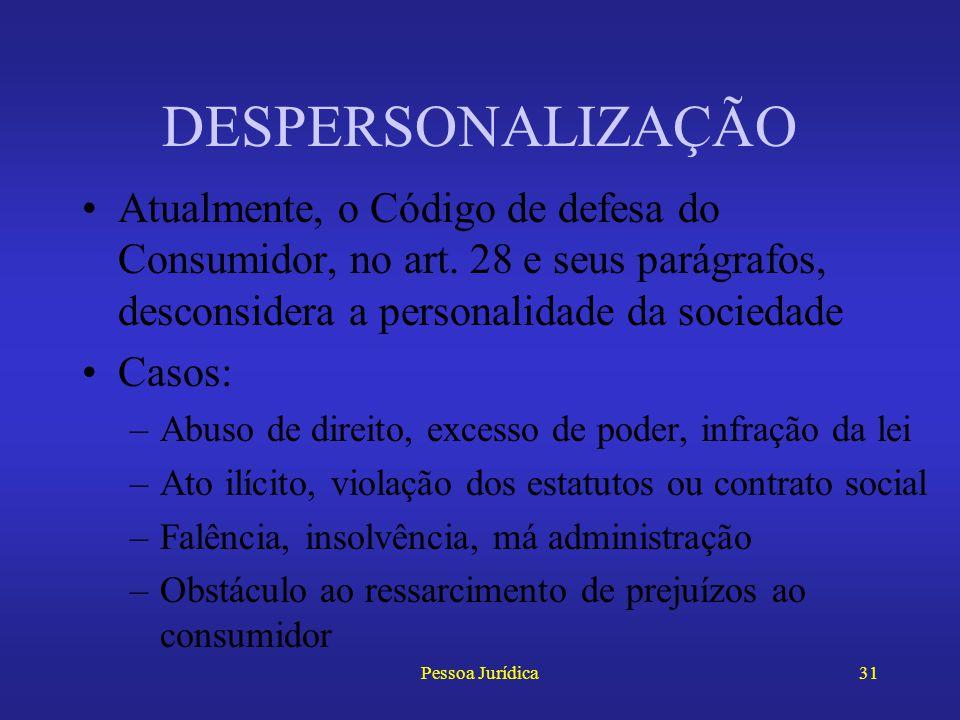 Pessoa Jurídica30 DESPERSONALIZAÇÃO Como no Brasil não existia lei que expressamente autorizasse tal teoria, aplicava- se analogamente o art. 135 do C