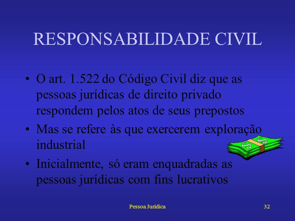 Pessoa Jurídica31 DESPERSONALIZAÇÃO Atualmente, o Código de defesa do Consumidor, no art. 28 e seus parágrafos, desconsidera a personalidade da socied