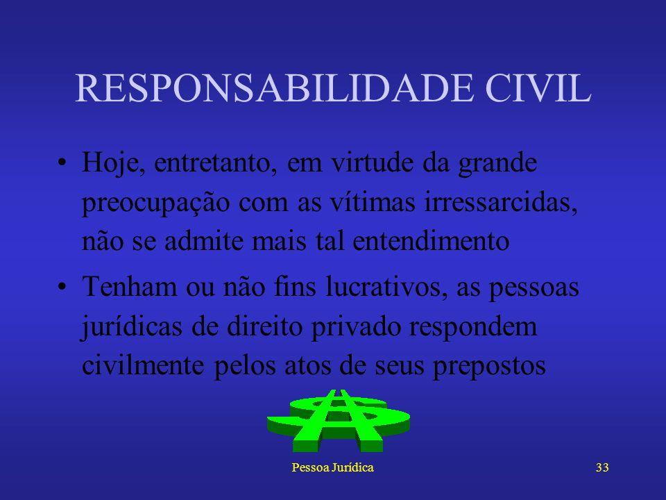 Pessoa Jurídica32 RESPONSABILIDADE CIVIL O art. 1.522 do Código Civil diz que as pessoas jurídicas de direito privado respondem pelos atos de seus pre