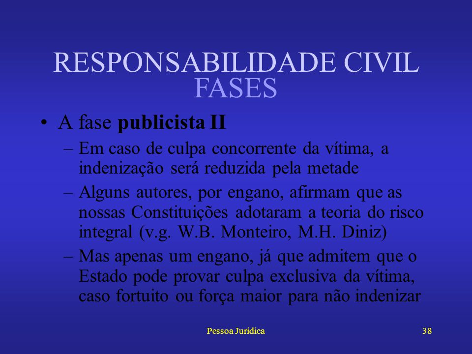 Pessoa Jurídica37 RESPONSABILIDADE CIVIL A fase publicista I –Inicia-se a partir da Constituição Federal de 1946 –Responsabilidade objetiva, mas no ri