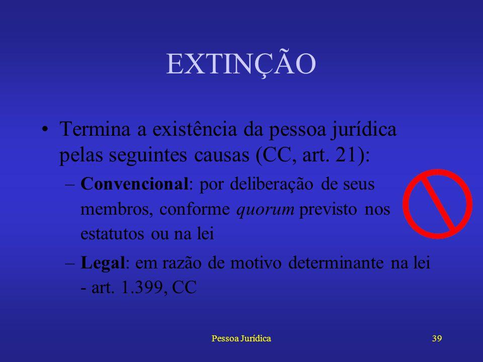 Pessoa Jurídica38 RESPONSABILIDADE CIVIL A fase publicista II –Em caso de culpa concorrente da vítima, a indenização será reduzida pela metade –Alguns