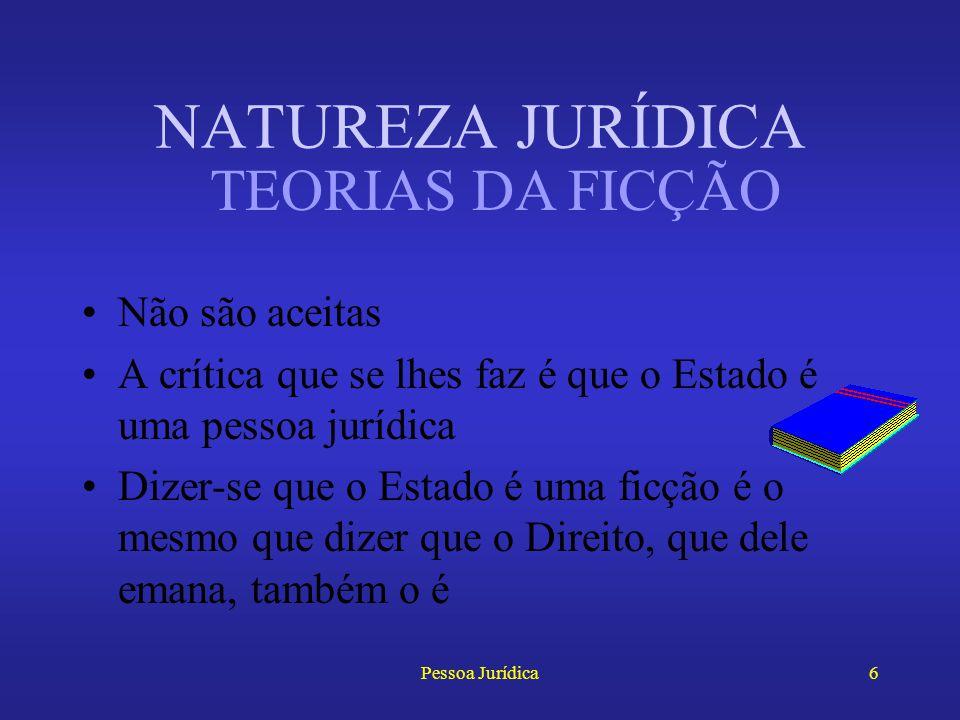 Pessoa Jurídica5 NATUREZA JURÍDICA Teoria da Ficção legal –Savigny –Pessoa jurídica como obra artificial da lei Teoria da Ficção doutrinária –Pessoa j