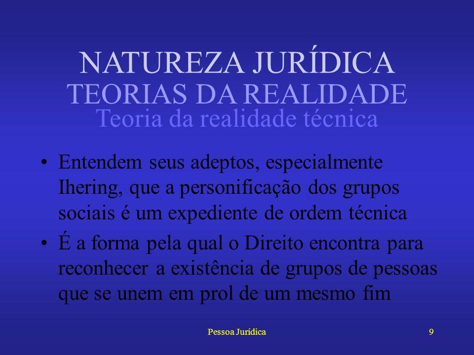 Pessoa Jurídica8 Pessoa jurídica é uma realidade sociológica, de seres com vida própria, que nascem por imposição das forças sociais Crítica: os grupo