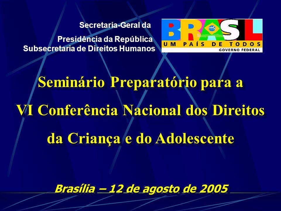 Secretaria-Geral da Presidência da República Subsecretaria de Direitos Humanos Seminário Preparatório para a VI Conferência Nacional dos Direitos da Criança e do Adolescente Brasília – 12 de agosto de 2005 Seminário Preparatório para a VI Conferência Nacional dos Direitos da Criança e do Adolescente Brasília – 12 de agosto de 2005