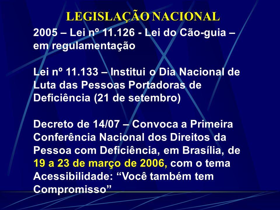 LEGISLAÇÃO NACIONAL 2005 – Lei nº 11.126 - Lei do Cão-guia – em regulamentação Lei nº 11.133 – Institui o Dia Nacional de Luta das Pessoas Portadoras de Deficiência (21 de setembro) Decreto de 14/07 – Convoca a Primeira Conferência Nacional dos Direitos da Pessoa com Deficiência, em Brasília, de 19 a 23 de março de 2006, com o tema Acessibilidade: Você também tem Compromisso