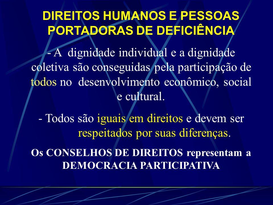 DIREITOS HUMANOS E PESSOAS PORTADORAS DE DEFICIÊNCIA - A dignidade individual e a dignidade coletiva são conseguidas pela participação de todos no desenvolvimento econômico, social e cultural.