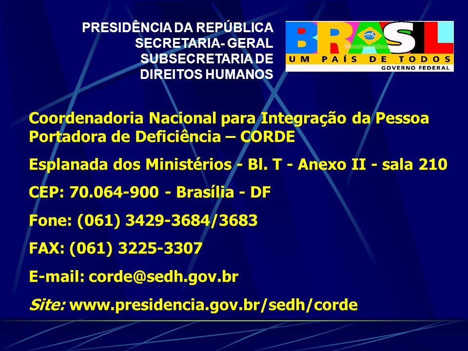 Coordenadoria Nacional para Integração da Pessoa Portadora de Deficiência – CORDE Esplanada dos Ministérios - Bl.