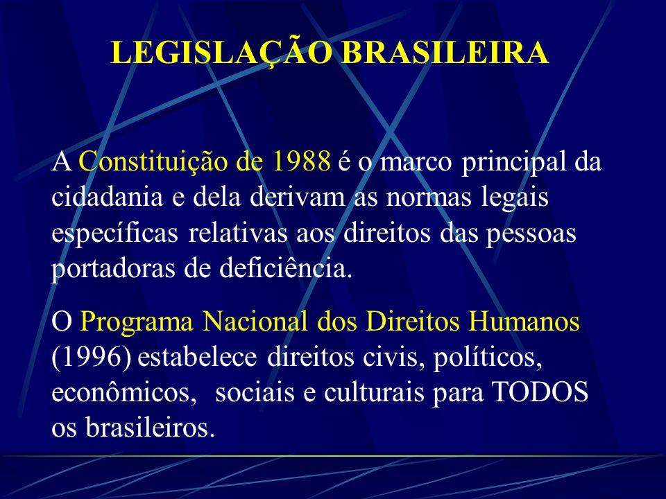 LEGISLAÇÃO BRASILEIRA A Constituição de 1988 é o marco principal da cidadania e dela derivam as normas legais específicas relativas aos direitos das pessoas portadoras de deficiência.
