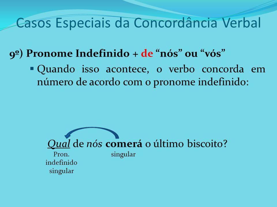 """Casos Especiais da Concordância Verbal 9º) Pronome Indefinido + de """"nós"""" ou """"vós""""  Quando isso acontece, o verbo concorda em número de acordo com o p"""