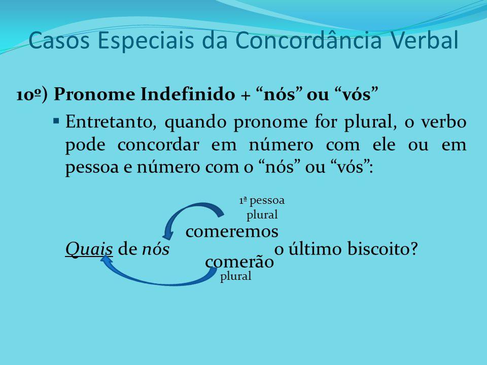 """Casos Especiais da Concordância Verbal 10º) Pronome Indefinido + """"nós"""" ou """"vós""""  Entretanto, quando pronome for plural, o verbo pode concordar em núm"""