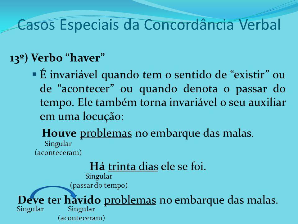 """Casos Especiais da Concordância Verbal 13º) Verbo """"haver""""  É invariável quando tem o sentido de """"existir"""" ou de """"acontecer"""" ou quando denota o passar"""