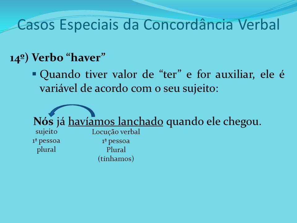 """Casos Especiais da Concordância Verbal 14º) Verbo """"haver""""  Quando tiver valor de """"ter"""" e for auxiliar, ele é variável de acordo com o seu sujeito: Nó"""