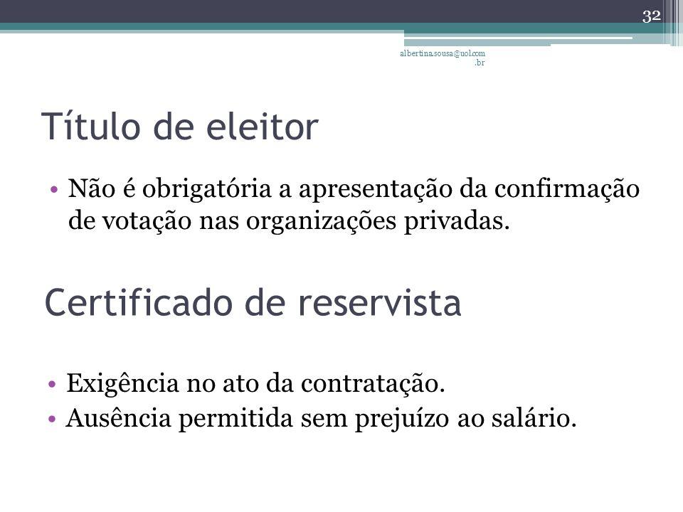 Título de eleitor Não é obrigatória a apresentação da confirmação de votação nas organizações privadas.