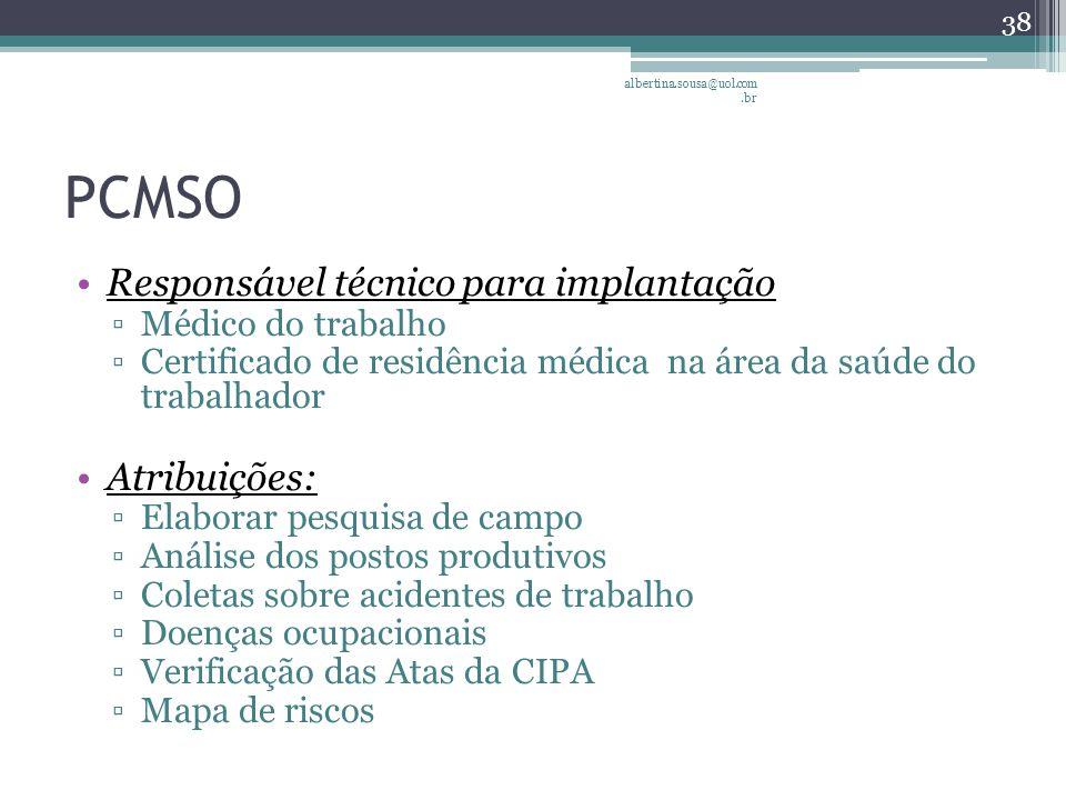 PCMSO Responsável técnico para implantação ▫Médico do trabalho ▫Certificado de residência médica na área da saúde do trabalhador Atribuições: ▫Elaborar pesquisa de campo ▫Análise dos postos produtivos ▫Coletas sobre acidentes de trabalho ▫Doenças ocupacionais ▫Verificação das Atas da CIPA ▫Mapa de riscos 38 albertina.sousa@uol.com.br