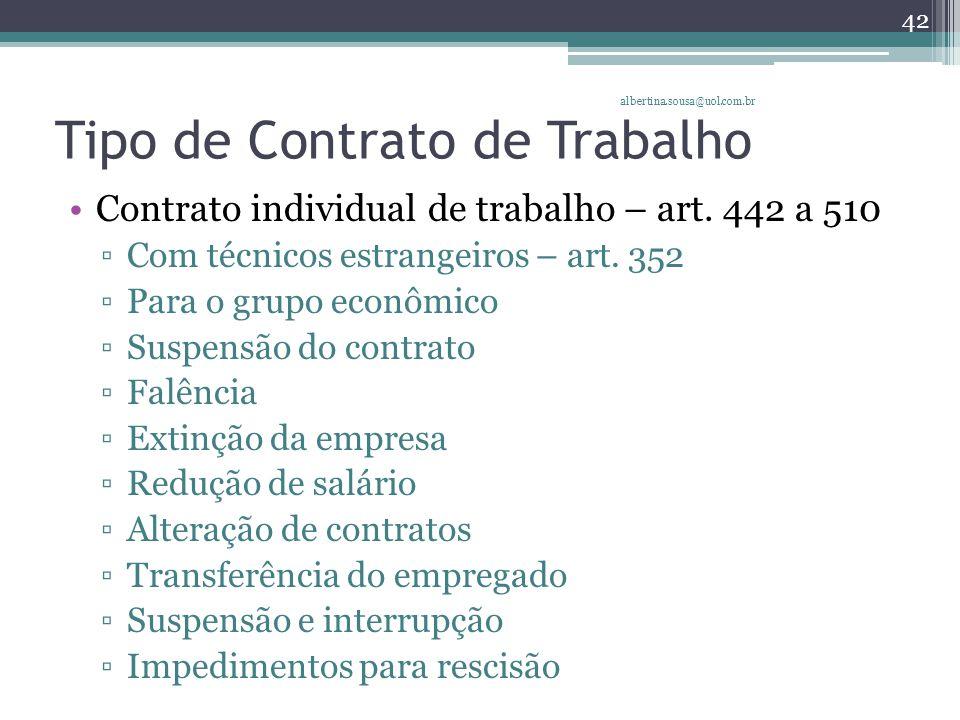 Tipo de Contrato de Trabalho Contrato individual de trabalho – art.