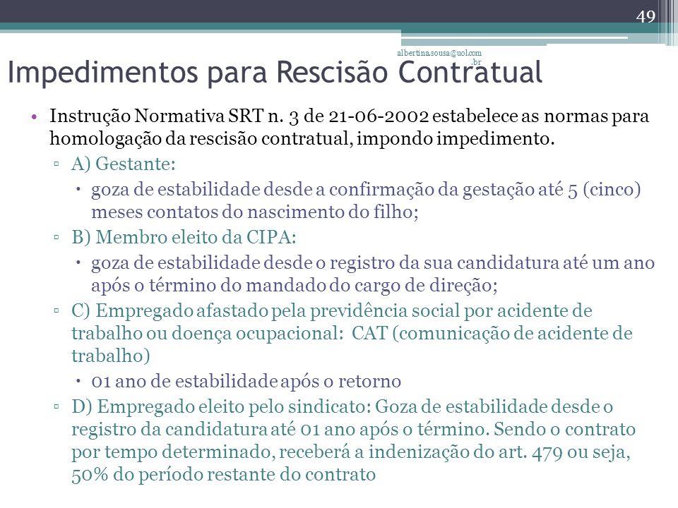 Impedimentos para Rescisão Contratual Instrução Normativa SRT n.