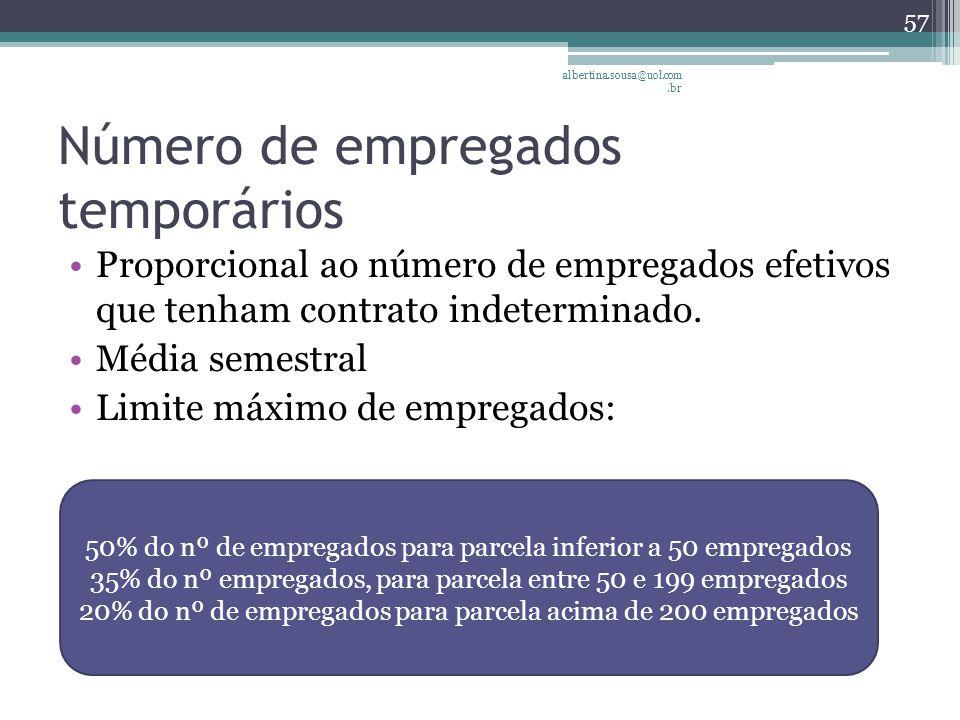 Número de empregados temporários Proporcional ao número de empregados efetivos que tenham contrato indeterminado.