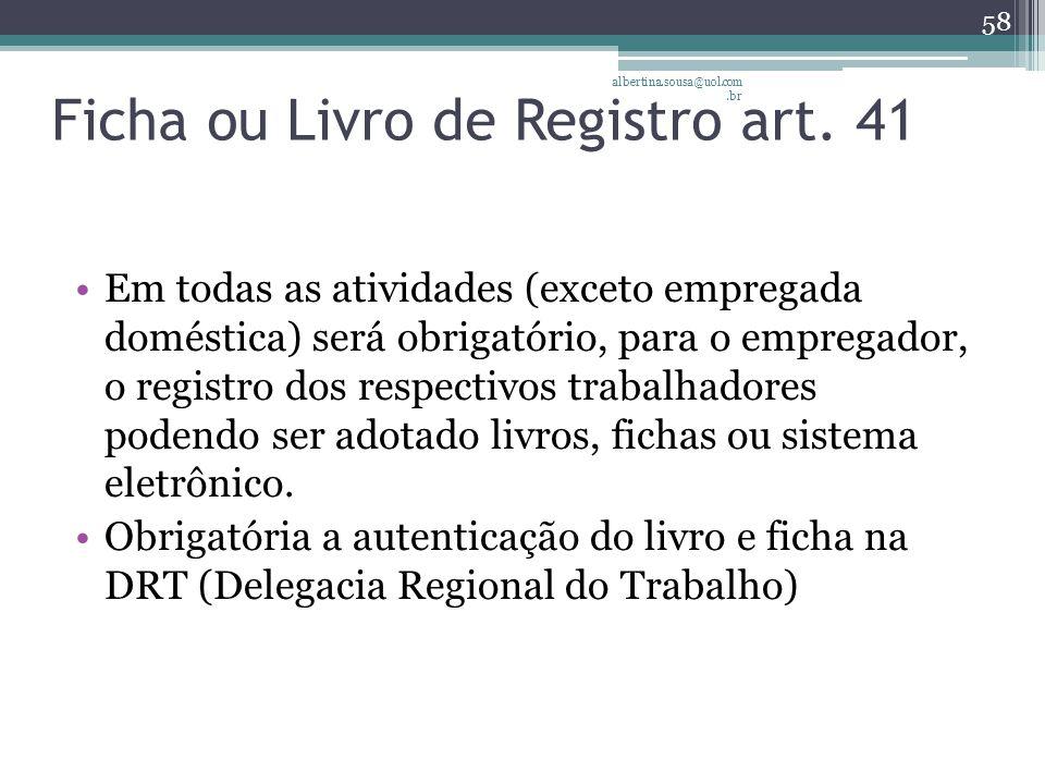 Ficha ou Livro de Registro art.