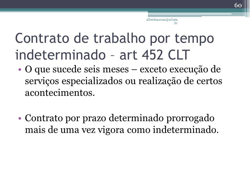 Contrato de trabalho por tempo indeterminado – art 452 CLT O que sucede seis meses – exceto execução de serviços especializados ou realização de certos acontecimentos.