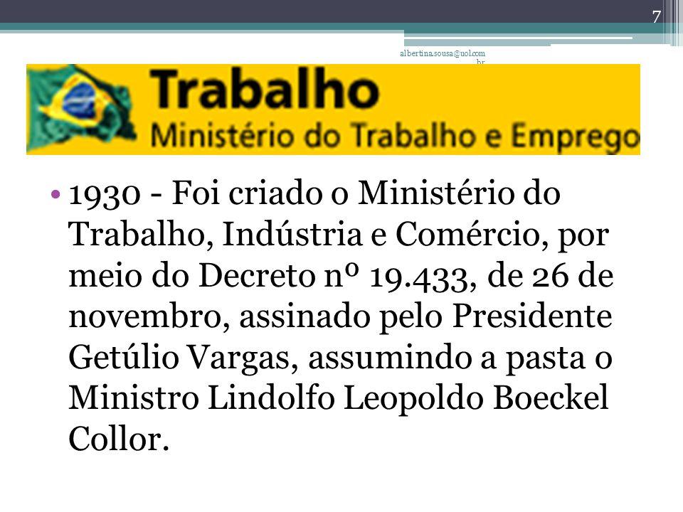 1930 - Foi criado o Ministério do Trabalho, Indústria e Comércio, por meio do Decreto nº 19.433, de 26 de novembro, assinado pelo Presidente Getúlio Vargas, assumindo a pasta o Ministro Lindolfo Leopoldo Boeckel Collor.