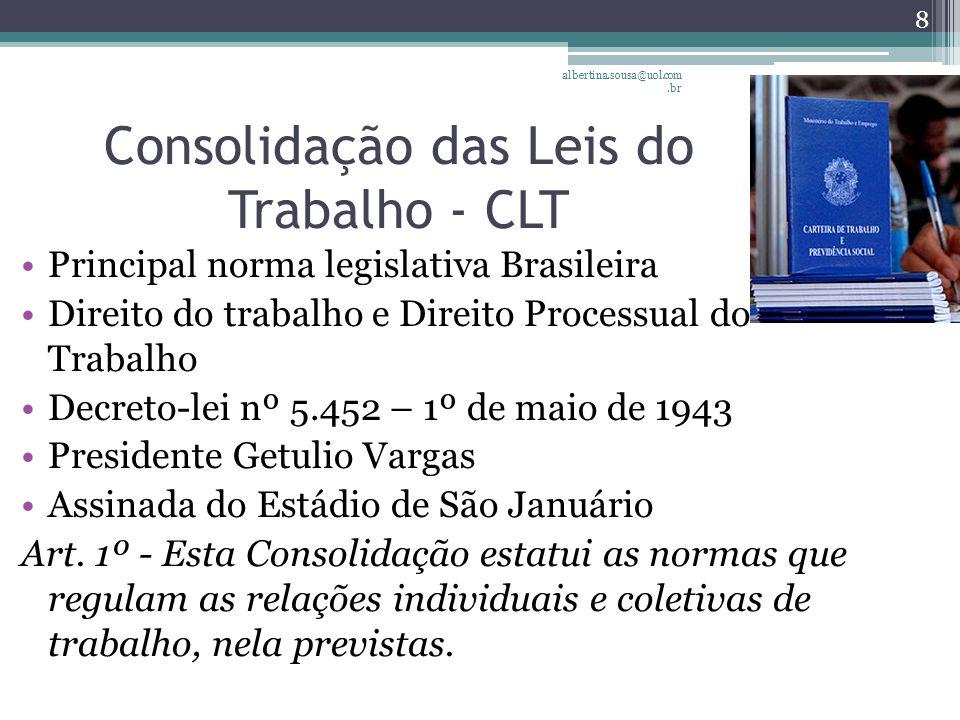 Consolidação das Leis do Trabalho - CLT Principal norma legislativa Brasileira Direito do trabalho e Direito Processual do Trabalho Decreto-lei nº 5.452 – 1º de maio de 1943 Presidente Getulio Vargas Assinada do Estádio de São Januário Art.