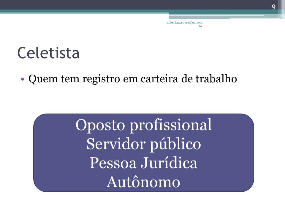 Celetista Quem tem registro em carteira de trabalho albertina.sousa@uol.com.br 9 Oposto profissional Servidor público Pessoa Jurídica Autônomo