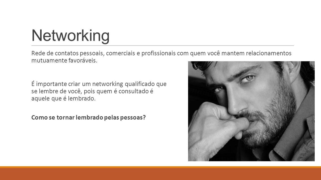 Networking Rede de contatos pessoais, comerciais e profissionais com quem você mantem relacionamentos mutuamente favoráveis. É importante criar um net