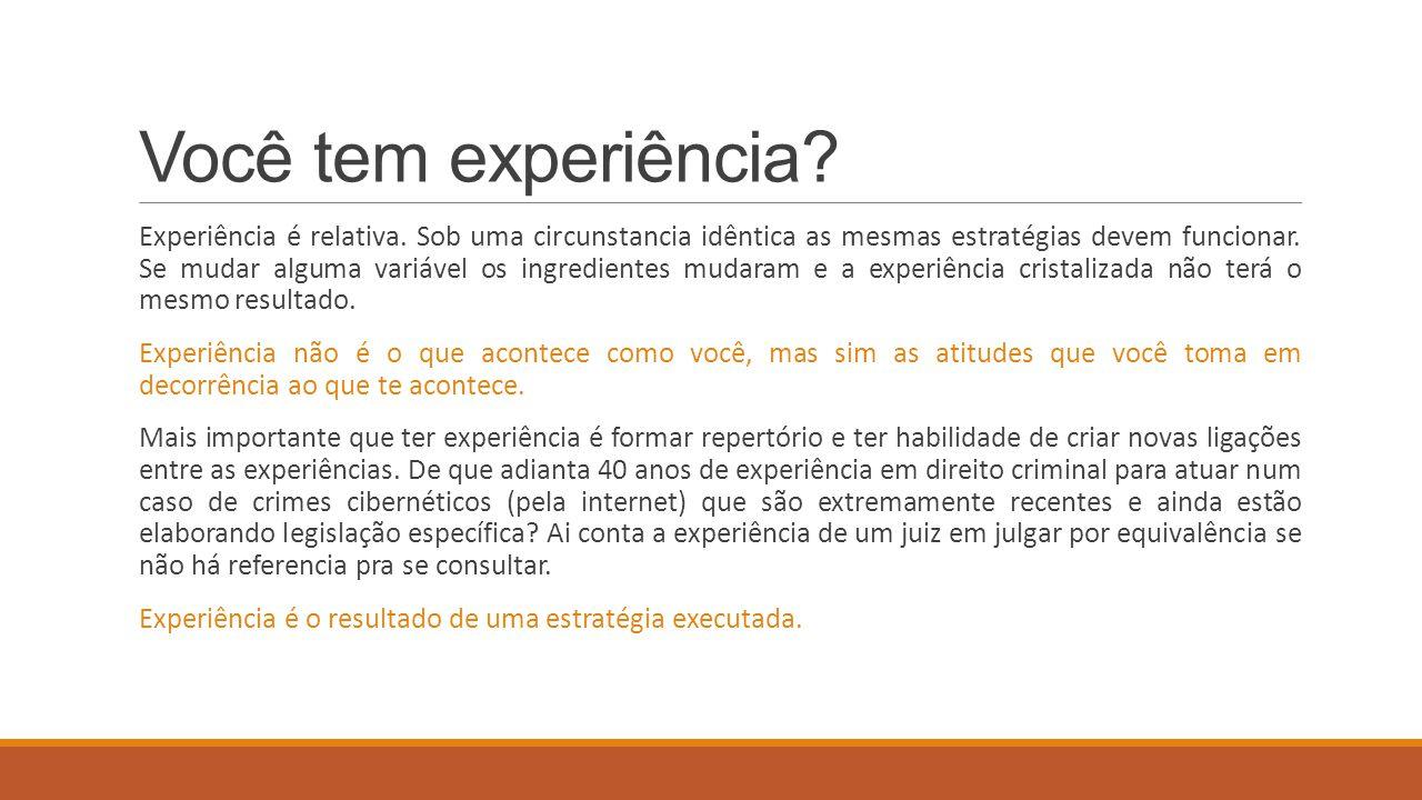 Você tem experiência? Experiência é relativa. Sob uma circunstancia idêntica as mesmas estratégias devem funcionar. Se mudar alguma variável os ingred