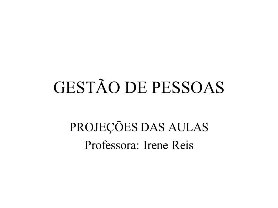 GESTÃO DE PESSOAS PROJEÇÕES DAS AULAS Professora: Irene Reis