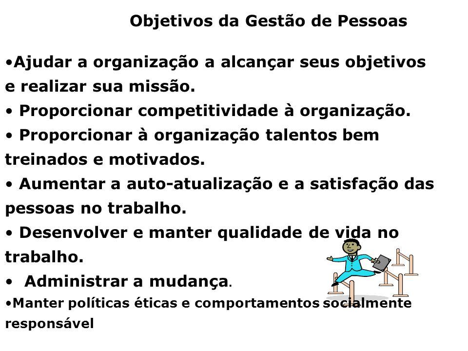 Objetivos da Gestão de Pessoas Ajudar a organização a alcançar seus objetivos e realizar sua missão. Proporcionar competitividade à organização. Propo