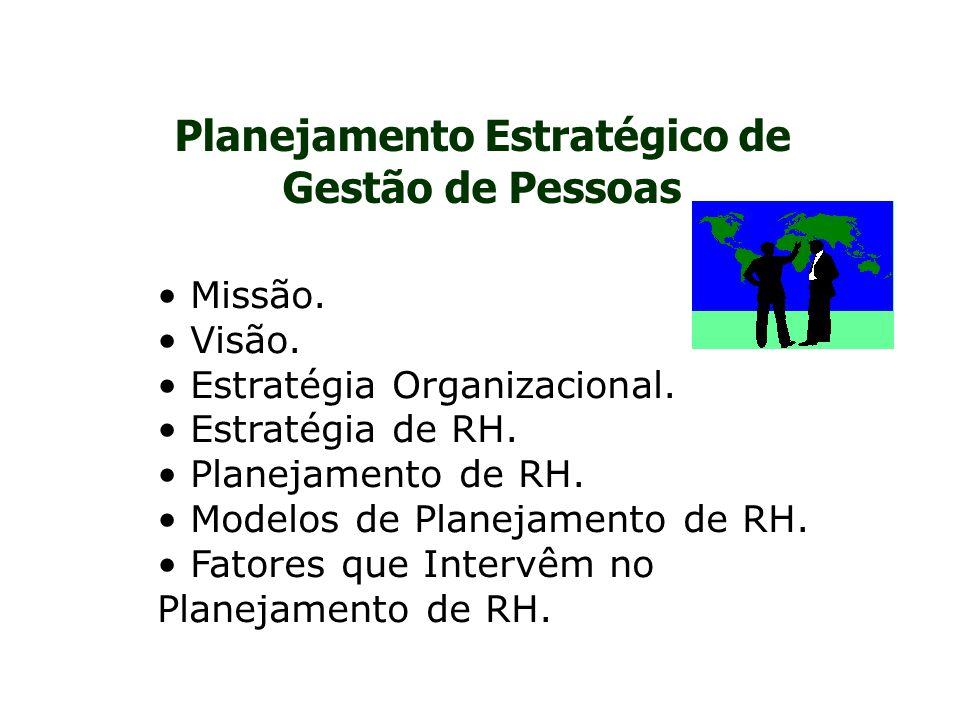 Planejamento Estratégico de Gestão de Pessoas Missão. Visão. Estratégia Organizacional. Estratégia de RH. Planejamento de RH. Modelos de Planejamento