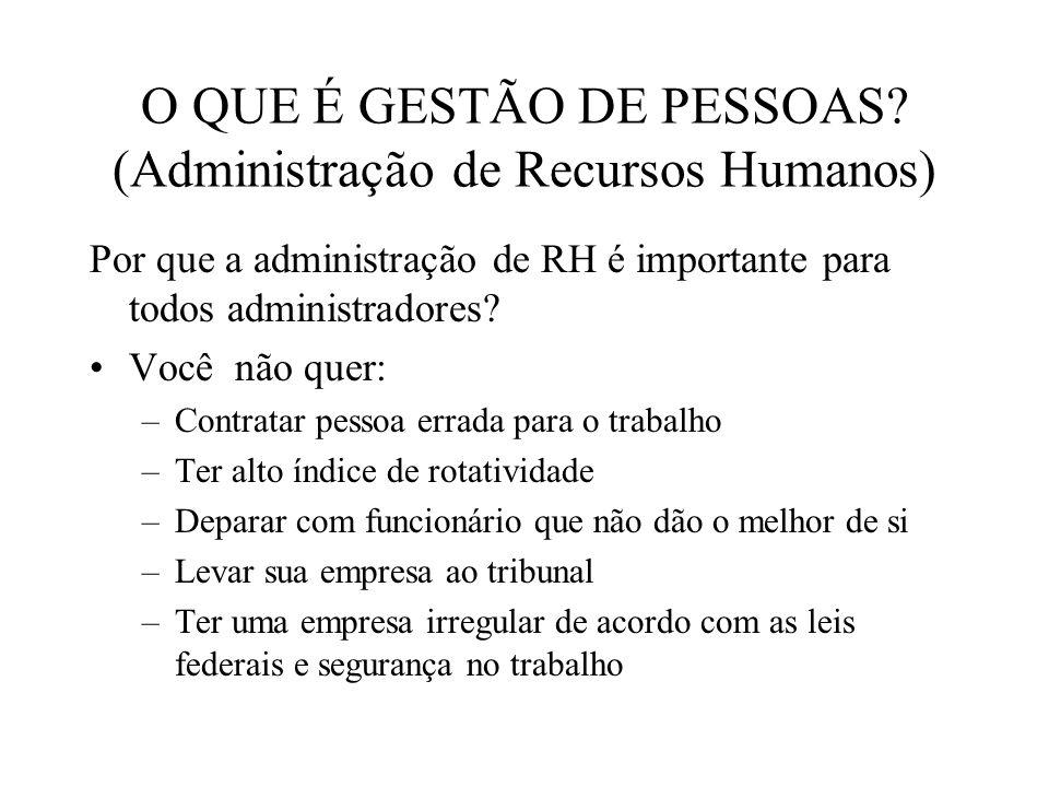 O QUE É GESTÃO DE PESSOAS? (Administração de Recursos Humanos) Por que a administração de RH é importante para todos administradores? Você não quer: –