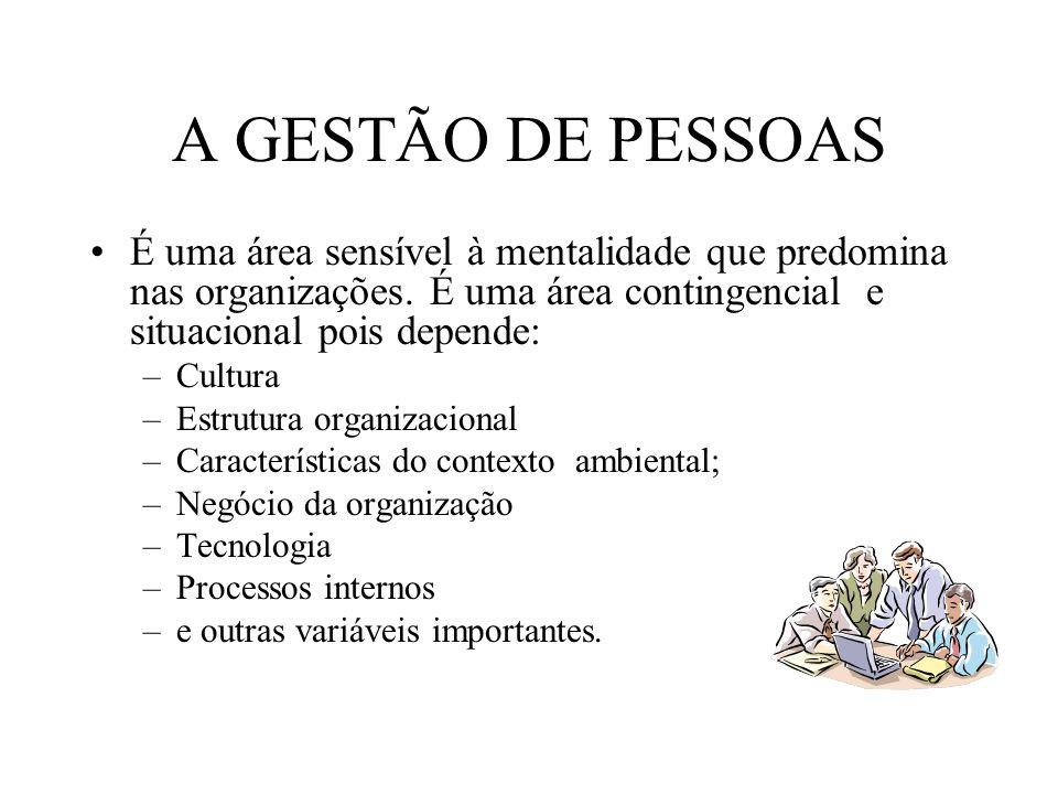 A GESTÃO DE PESSOAS É uma área sensível à mentalidade que predomina nas organizações.