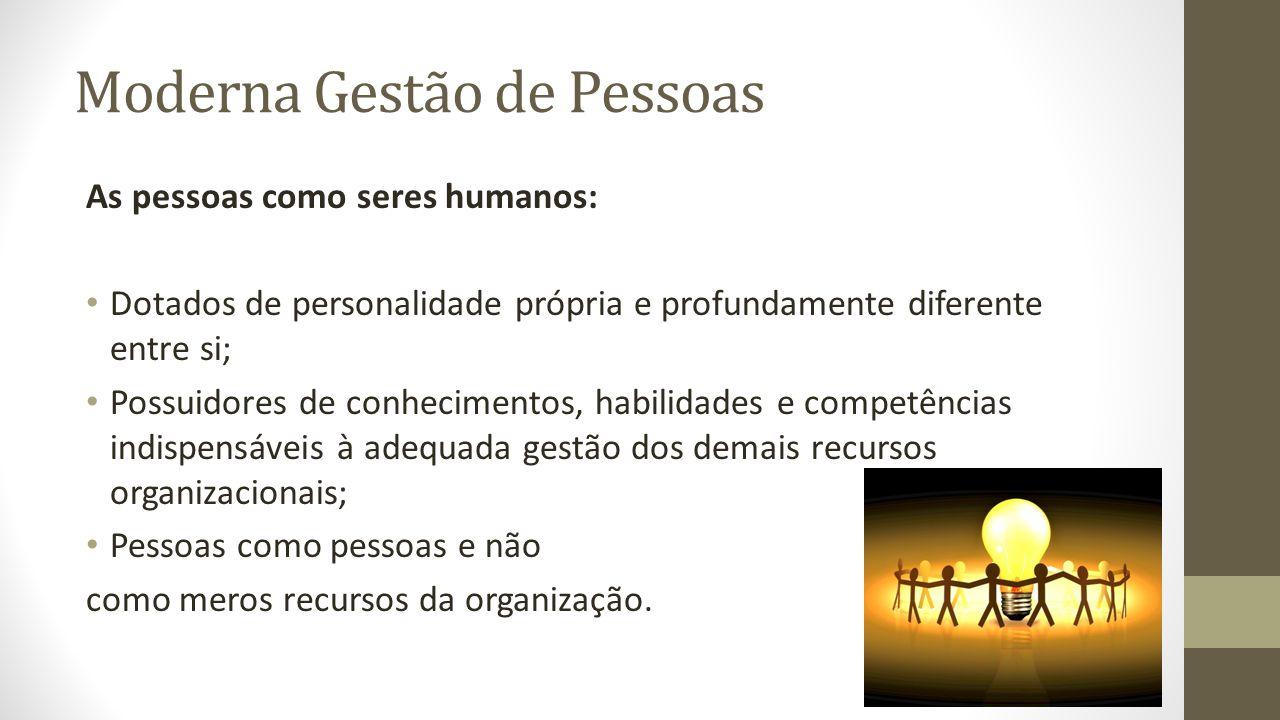 Moderna Gestão de Pessoas As pessoas como seres humanos: Dotados de personalidade própria e profundamente diferente entre si; Possuidores de conhecime