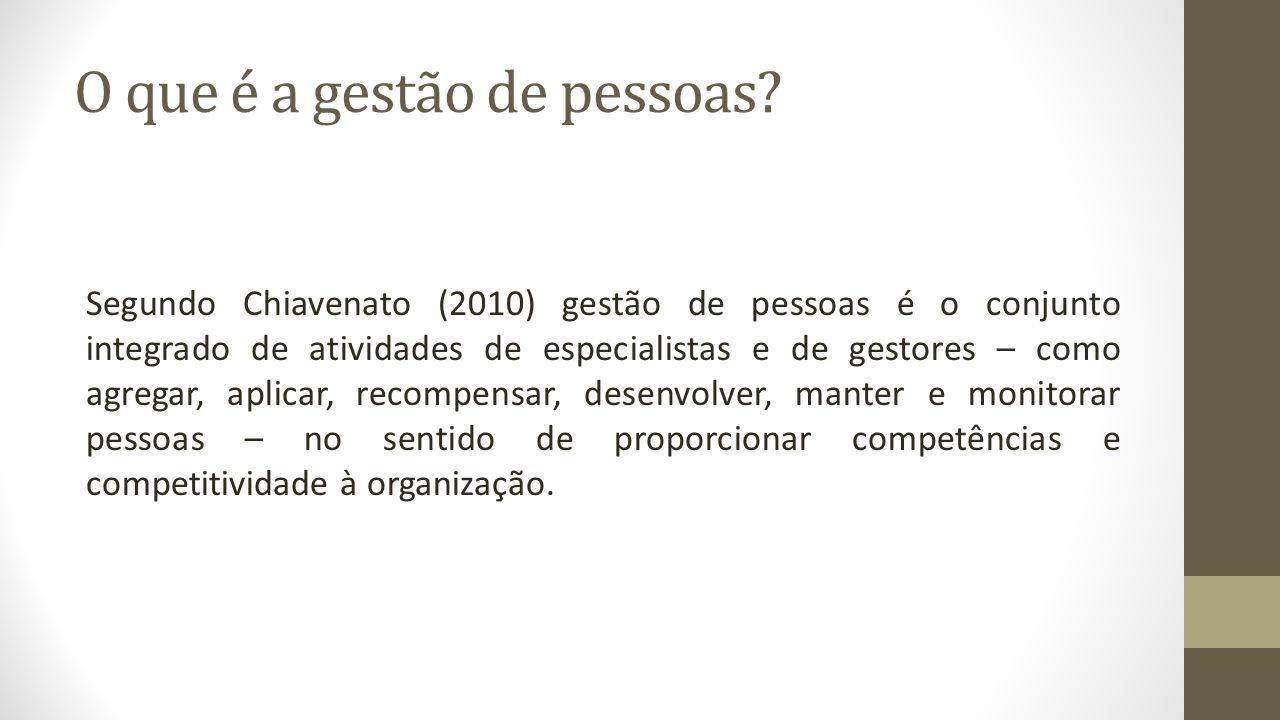 O que é a gestão de pessoas? Segundo Chiavenato (2010) gestão de pessoas é o conjunto integrado de atividades de especialistas e de gestores – como ag