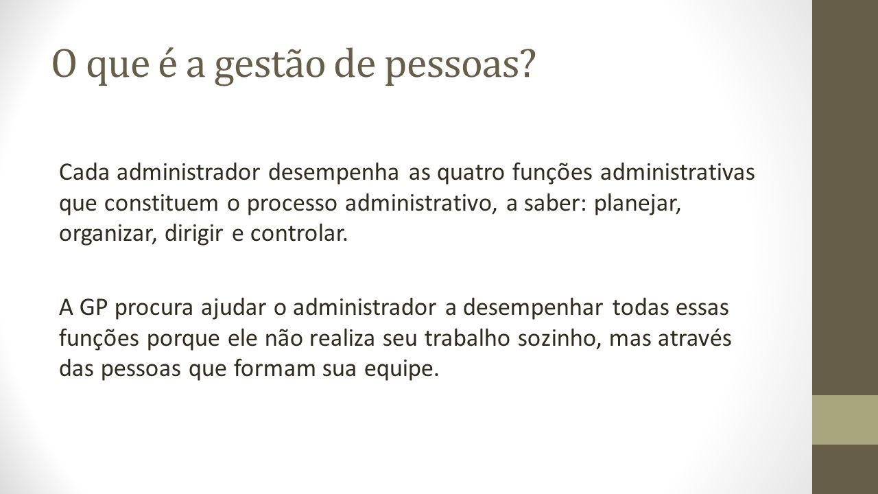 O que é a gestão de pessoas? Cada administrador desempenha as quatro funções administrativas que constituem o processo administrativo, a saber: planej