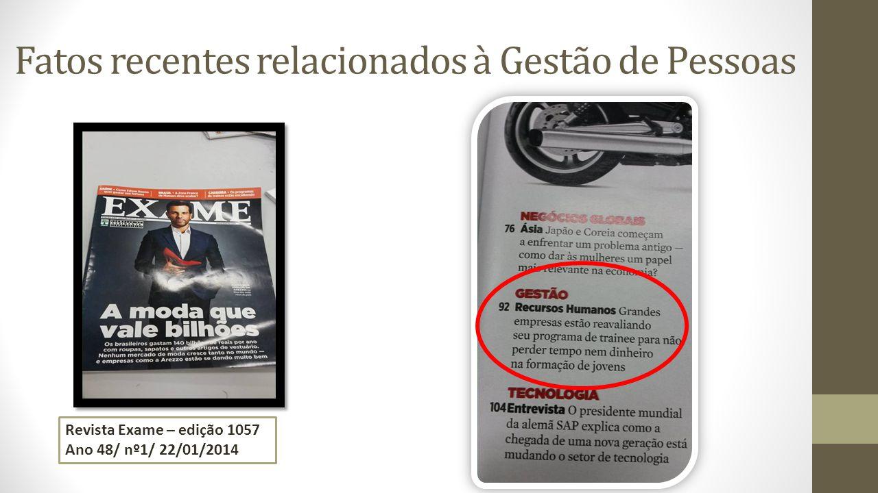 Fatos recentes relacionados à Gestão de Pessoas Revista Exame – edição 1057 Ano 48/ nº1/ 22/01/2014