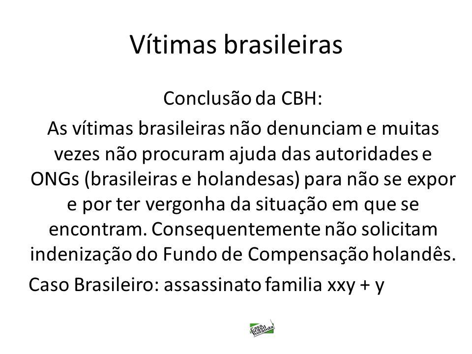 Vítimas brasileiras Conclusão da CBH: As vítimas brasileiras não denunciam e muitas vezes não procuram ajuda das autoridades e ONGs (brasileiras e hol