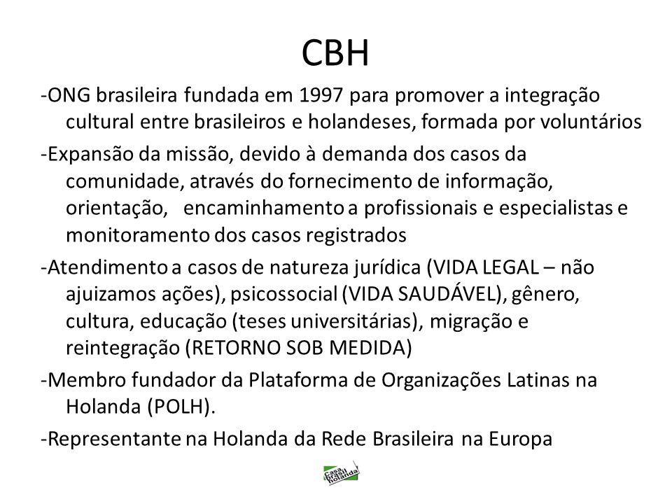 CBH -ONG brasileira fundada em 1997 para promover a integração cultural entre brasileiros e holandeses, formada por voluntários -Expansão da missão, d