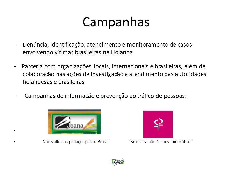 Campanhas -Denúncia, identificação, atendimento e monitoramento de casos envolvendo vítimas brasileiras na Holanda - Parceria com organizações locais,
